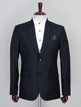Black terry rayon fabric solid mens coat suit