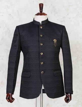 Black terry rayon jodhpuri party wear blazer