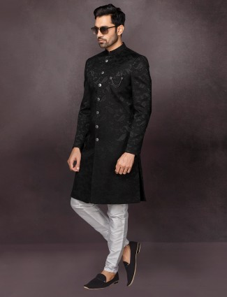Black terry rayon mens indo western