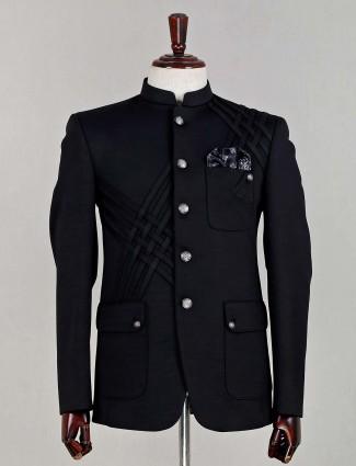 Black terry rayon mens jodhpuri suit