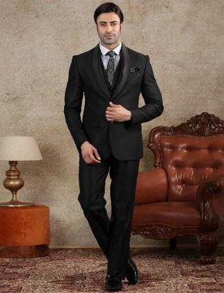 Black terry rayon party wear mens coat suit