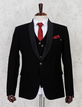 Black terry rayon solid one button coat suit