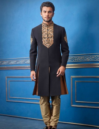 Black terry rayon straight indo western for men