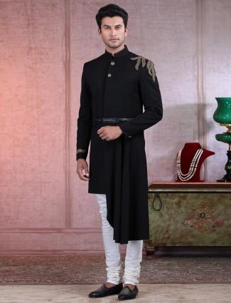 Black terry rayon wedding wear indo western for men