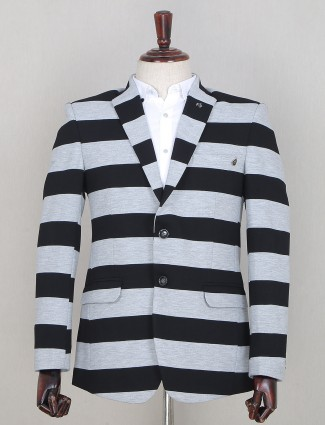 Black tint striped style party wear blazer in terry rayon