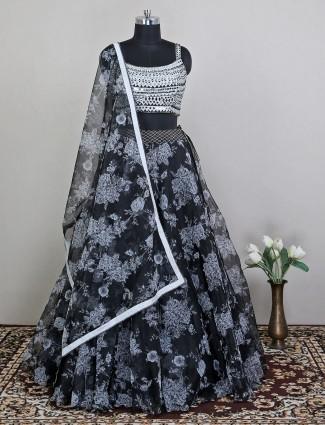Black tissue silk lehenga choli for wedding occasion