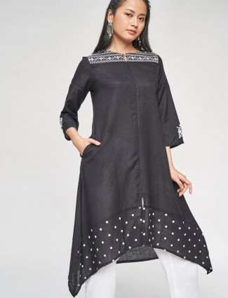 Black tunic for women in cotton