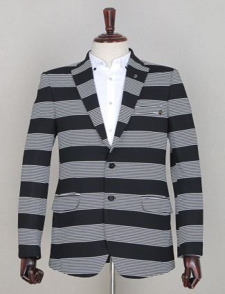 Black two buttoned style blazer in terry rayon