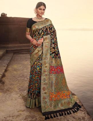 Black wedding ceremonies banarasi kora silk saree