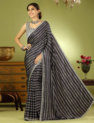 Black wedding event silk saree with ready made blouse