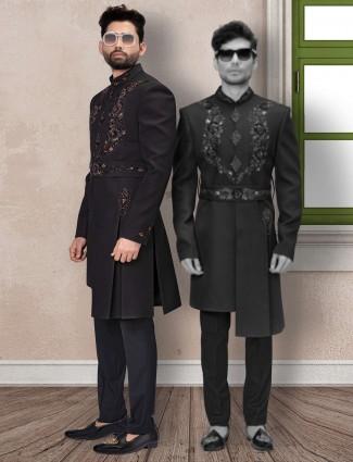 Black  wedding wear indo western in terry rayon