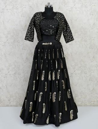 Black wedding wear  lehenga choli in georgette