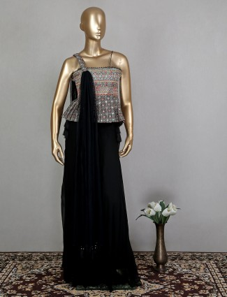 Black wedding wear palazzo suit for woman with attached dupatta