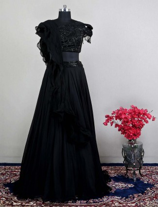 Black wedding wear silk lehenga choli for womens