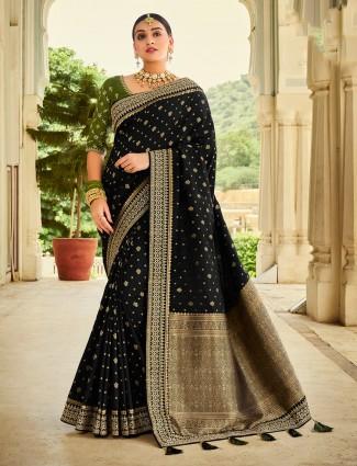 Black wedding wear silk saree for women