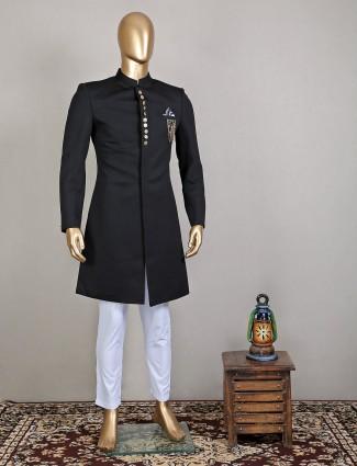 Black wedding wear terry rayon wedding wear indowestern