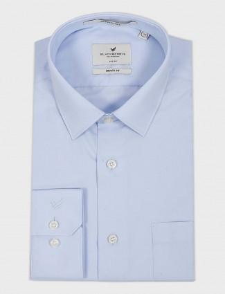 Blackberry solid sky blue cotton shirt
