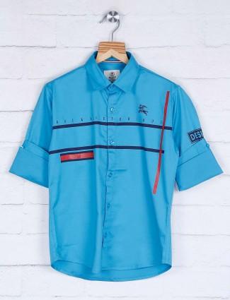 Blazo aqua color stripe curve hem shirt