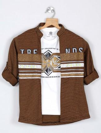 Blazo brown stripe shirt for boys