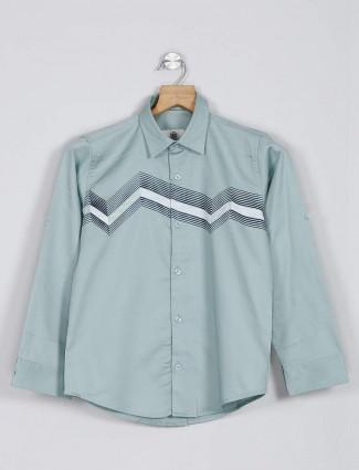 Blazo cotton green printed shirt