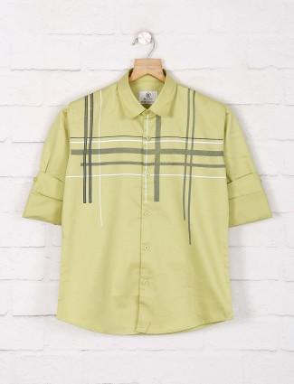 Blazo green checks slim collar shirt