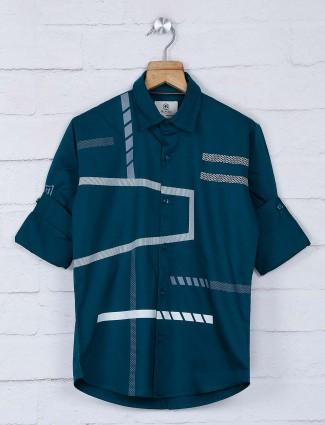 Blazo green hue cotton fabric boys shirt
