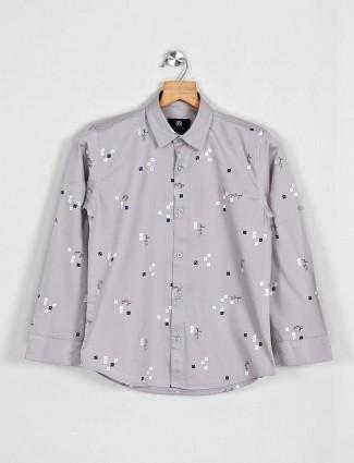 Blazo grey printed casual wear shirt