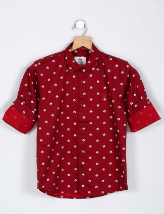 Blazo maroon printed latest shirt
