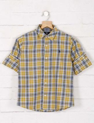 Blazo mustard yellow hue checks cotton shirt