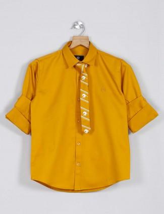Blazo mustard yellow solid cotton shirt