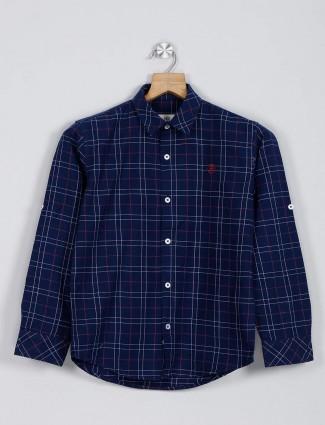 Blazo navy checks casual wear boys shirt