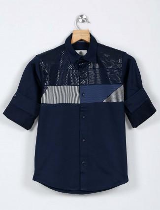 Blazo navy printed pattern full sleeve shirt