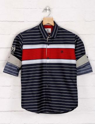 Blazo navy stripe pattern slim fit shirt