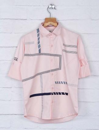 Blazo peach printed cotton casual shirt
