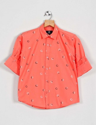 Blazo peach printed cotton shirt