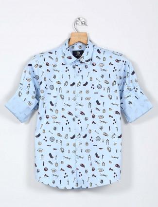 Blazo presented blue printed boys shirt