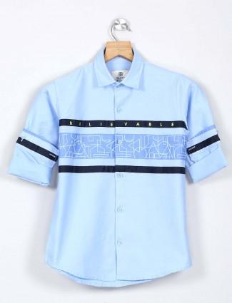 Blazo printed blue cotton shirt