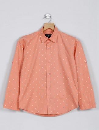 Blazo printed casual peach casual shirt