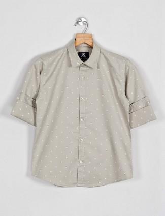 Blazo printed grey slim fit shirt