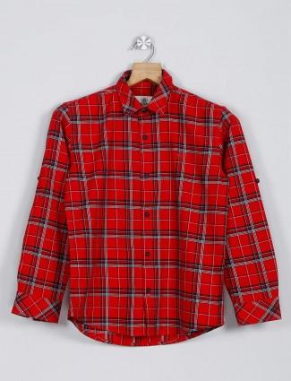 Blazo red checks pattern maroon shirt