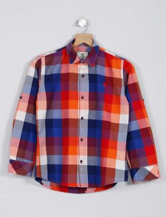 Blazo red checks slim fit boys shirt