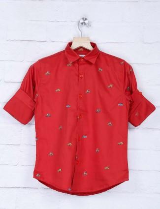 Blazo red hue car printed cotton shirt