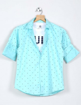Blazo sea green printed cotton boys shirt