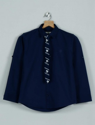 Blazo solid royal blue casual wear shirt