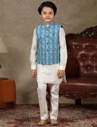 Blue and cream boys cotton waistcoat set