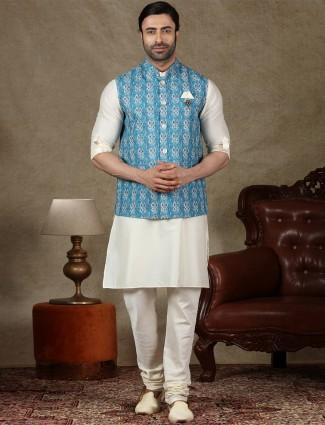 Blue and cream cotton waistcoat set