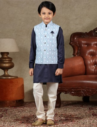 Blue and navy cotton waistcoat set for boys