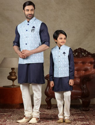 Blue and navy cotton waistcoat set for father and son