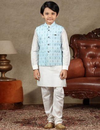 Blue and off white boys waistcoat set in cotton
