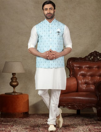 Blue and off white waistcoat set in cotton